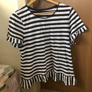Talbots Petite Navy white stripe peplum t shirt